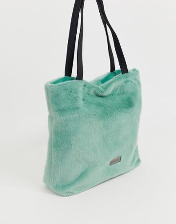 Claudia Canova Faux Fur Light Green Tote