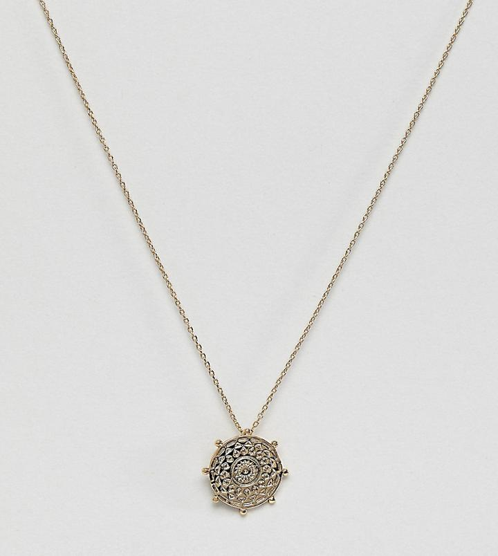 Orelia Gold Plated Evil Eye Bead Coin Necklace - Gold