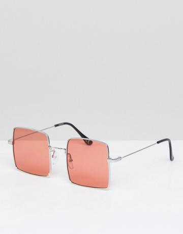 Asos Square Sunglasses In Gold With Pink Lens - Gold