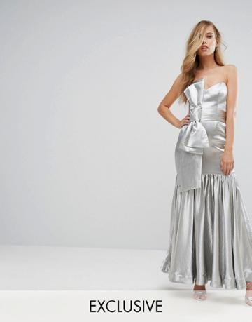 Fame And Partners Fitted Maxi Dress With Tie Front Detail - Silver