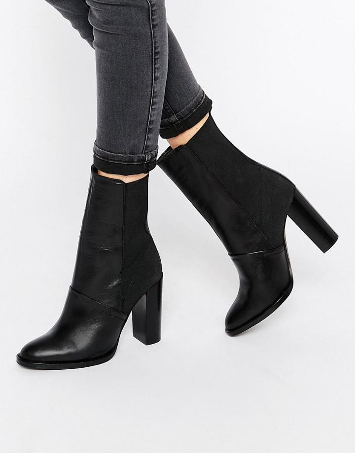 Dune Pembleton Leather Heeled Calf Length Ankle Boot - Black Leather