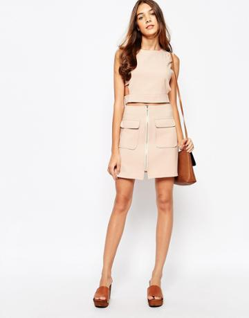 Lola May Utility Mini Skirt With Pockets - Nude