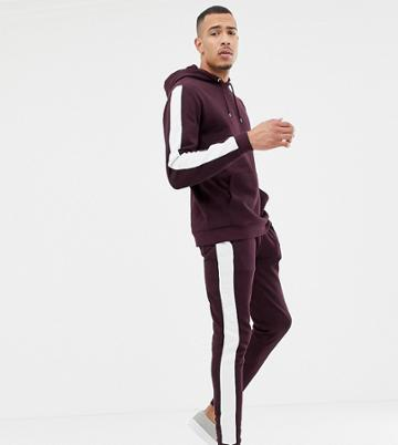 Asos Design Tall Tracksuit Hoodie/skinny Joggers With Side Stripe In Burgundy - Red