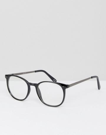 Asos Round Glasses In Black With Clear Lens - Black