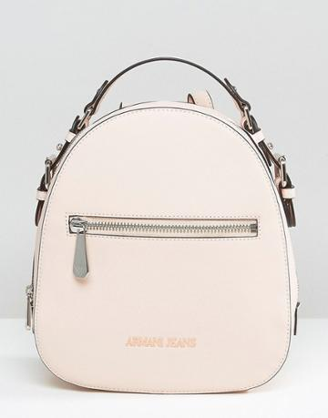 Armani Jeans Simple Backpack With Embossed Logo In Blush - Pink
