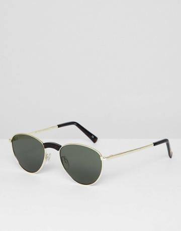 Le Specs Hot Stuff Edition Aviator Sunglasses In Gold - Gold