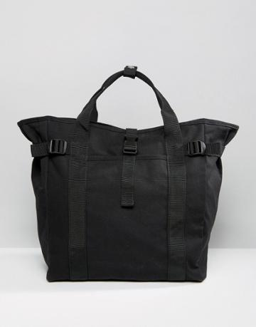 Asos Tote Bag In Black With Strapping Detail - Black