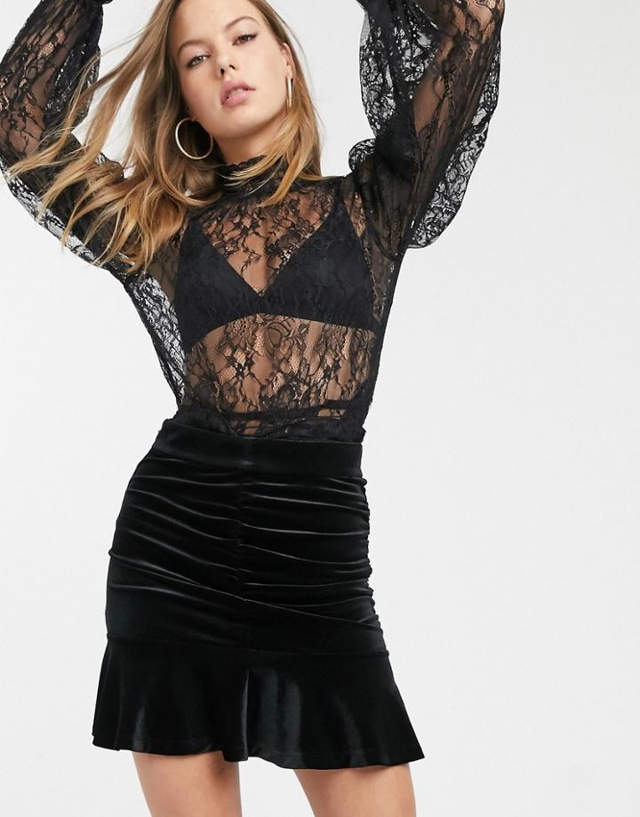 & Other Stories Velvet Jacquard Ruched Mini Skirt In Black