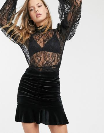 & Other Stories Velvet Jacquard Ruched Mini Skirt In Black