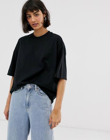 Monki Oversized Crew Neck T-shirt In Black - Black