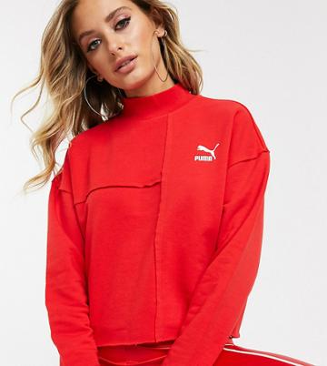 Puma Raw Edge Sweatshirt In Red Exclusive To Asos
