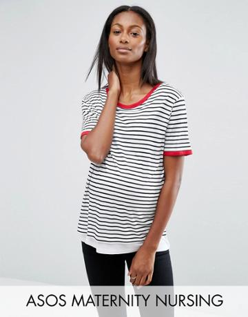Asos Maternity Nursing Top In Stripe With Tipping - Multi