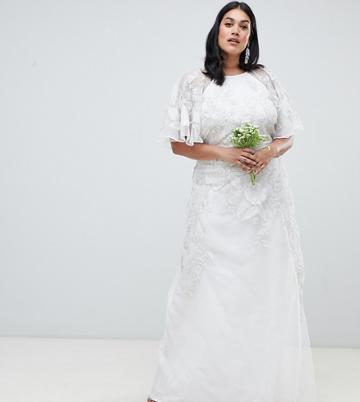 Asos Edition Curve Floral Applique Wedding Dress - Cream