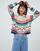 Mango Crochet Knit Sweater In Multi - Cream