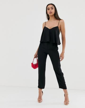 Asos Design Cami Jumpsuit With Double Layer And Peg Leg - Black