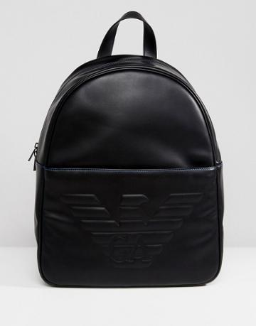 Emporio Armani Embossed Logo Backpack In Black - Black