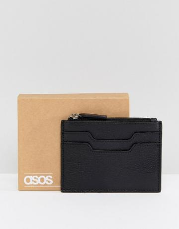 Asos Leather Card Holder With Zip Fastening - Black