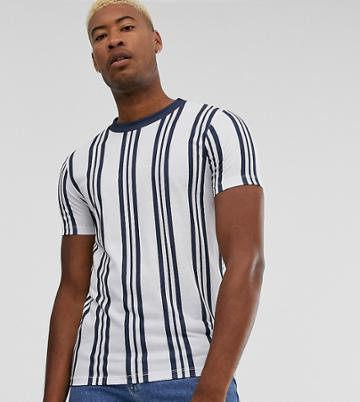 Asos Design Tall Vertical Stripe T-shirt In Navy And White