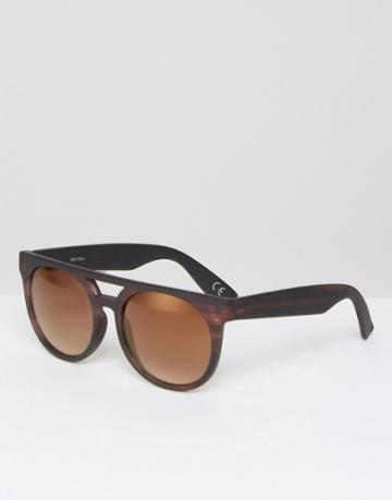 Asos Flatbrow Glasses In Wood Effect - Brown