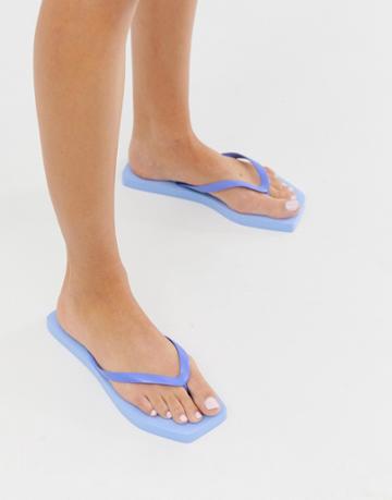 Asos Design Fan Square Toe Flip Flops In Blue