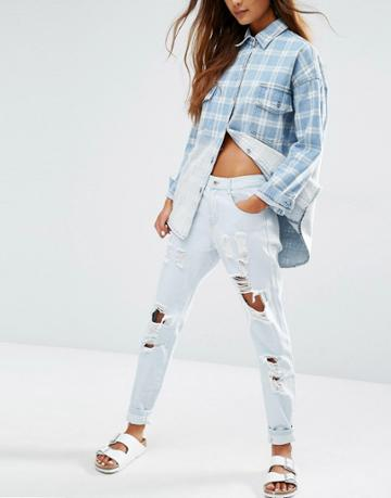 Honey Punch Distressed Boyfriends Jeans - Blue