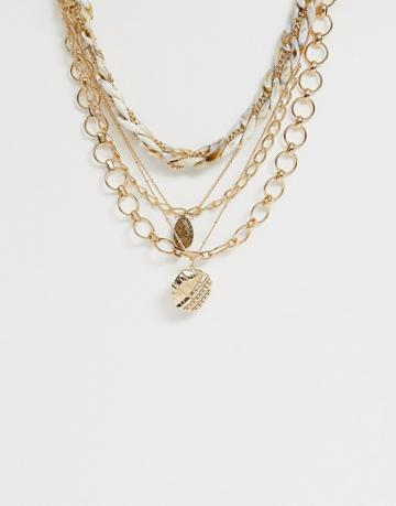 Asos Design Multirow Necklace With Resin And Mixed Design Chains And Worn Coin Pendant In Gold Tone - Gold