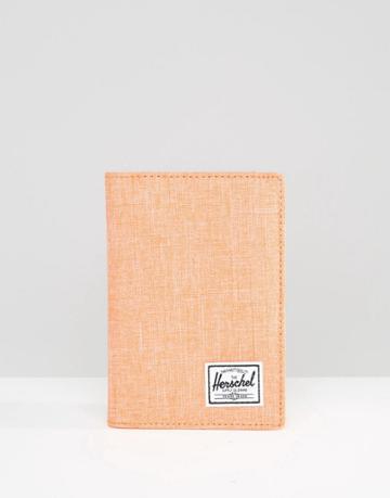 Herschel Supply Co Raynor Passport Holder In Nectarine Crosshatch - Nectarine