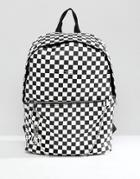 Asos Faux Leather Backpack In Checkerboard Print - Black
