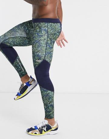 Asos 4505 Running Tights With Camo Print-green