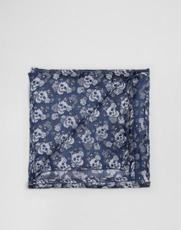 Noose & Monkey Jacquard Pocket Square In Skull Print - Blue