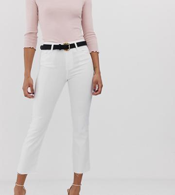 Stradivarius Raw Hem Straight Leg Jeans In White - White