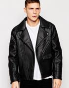 Barneys Faux Leather Ribbed Biker Jacket - Black