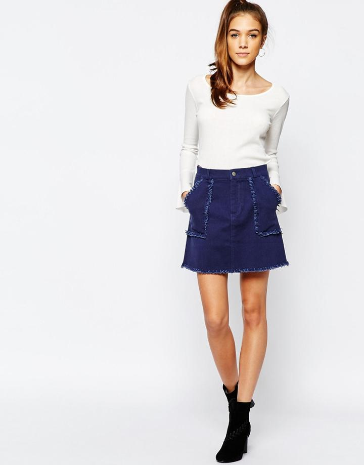 Daisy Street Raw Hem Aline Skirt With Pockets - Indigo