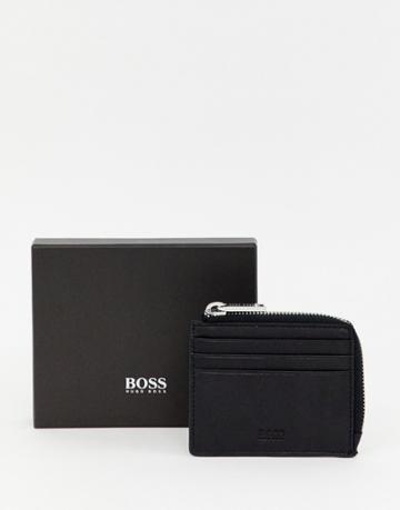 Boss Majestic Leather Coin Zip Wallet In Black - Black