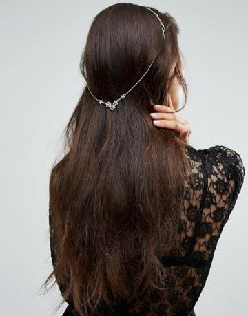 Limited Edition Occasion Draping Crystal Hair Back Chain - Silver