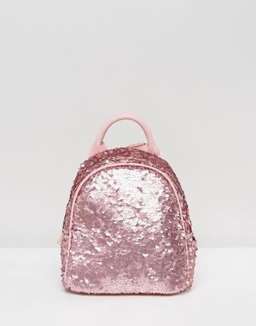 Skinnydip Pink Matte Sequin Mini Backpack - Pink