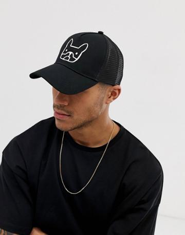 Jack & Jones Trucker Hat With French Bulldog - Black