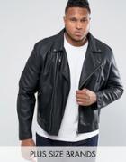 Barneys Plus Faux Leather Biker Jacket - Black