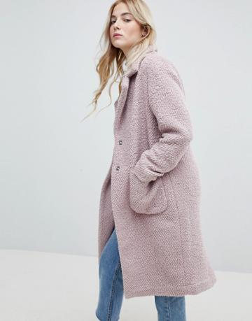 New Look Textured Wool Midi Coat - Pink