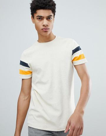 Asos Design T-shirt In Towelling With Contrast Sleeve Panels In Ecru - White