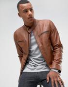 Barney's Originals Real Leather Jacket - Tan
