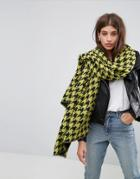 Asos Long Bright Houndstooth Scarf - Yellow