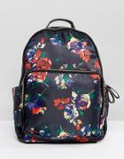 Yoki Floral Printed Backpack - Navy