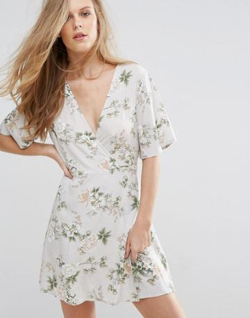 Pull & Bear Wrap Front Floral Tea Dress - Stone