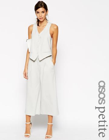 Asos Petite Co-ord Luxe Wide Leg Culotte - Silver Gray