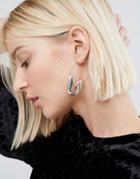 Cheap Monday Pin Hoop Earrings - Silver