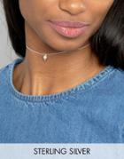 Asos Sterling Silver Stone Drop Choker Necklace - Silver