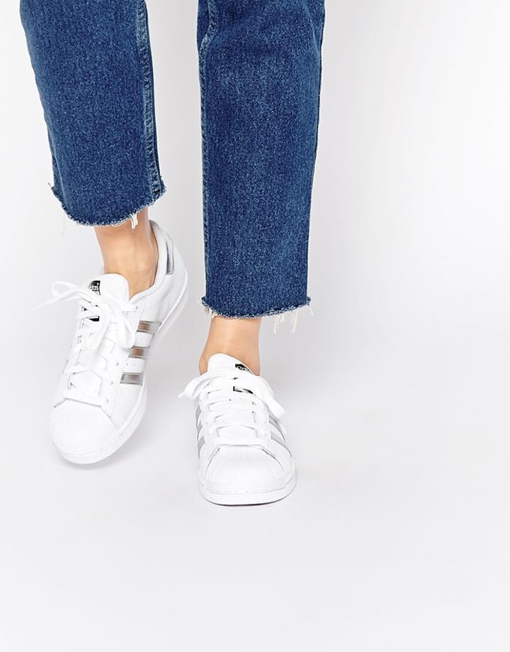 Adidas Originals White & Silver Superstar Sneakers - White