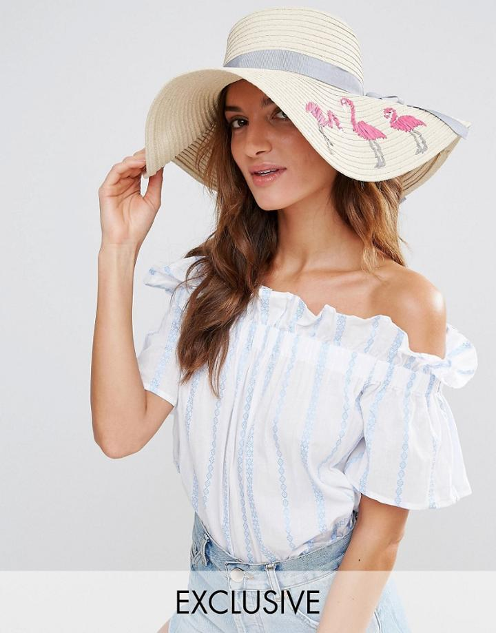 South Beach Straw Hat With Flamingos - Beige
