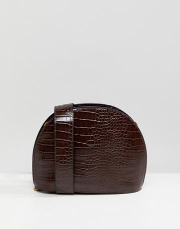 Asos Design Large Croc Half Moon Cross Body Bag - Brown